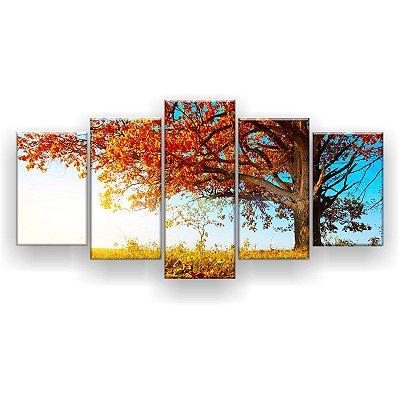 Quadro Decorativo Outono Árvore Céu Azul 129x61 5pc Sala
