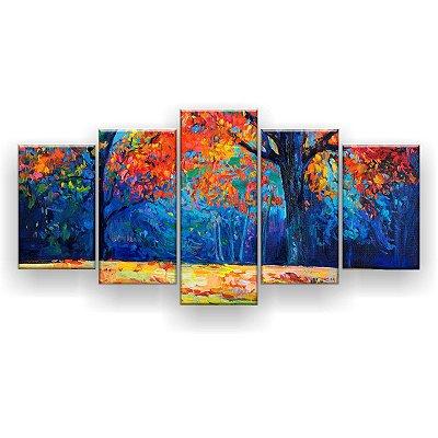 Quadro Decorativo Pintura Floresta Colorida  129x61 5pc Sala