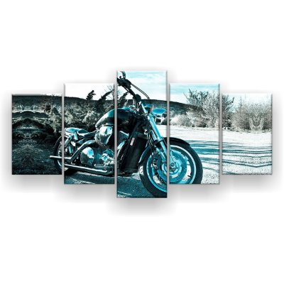 Quadro Decorativo Moto Fundo Deserto 129x61 5pc Sala