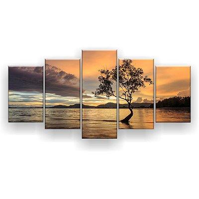 Quadro Decorativo Árvore No Meio Da Praia 129x61 5pc Sala