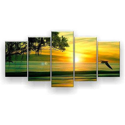 Quadro Decorativo Horizonte Praia Verde 129x61 5pc Sala
