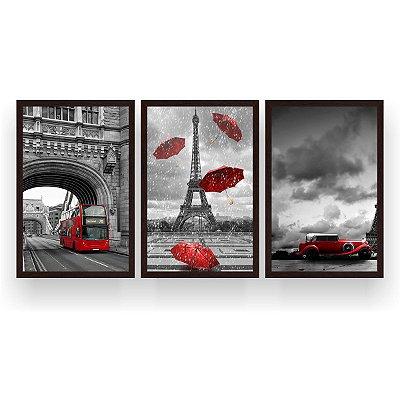 Quadro Decorativo Londres Paris Red 3P 124x60 Sala Quarto