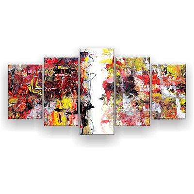 Quadro Decorativo Pintura Abstrata Aleatória 129x61 5pc Sala