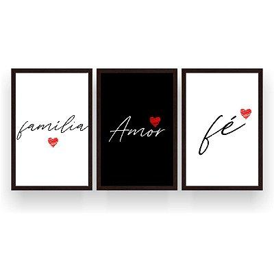 Quadro Decorativo Família Amor E Fé 3P 124x60 Sala Quarto