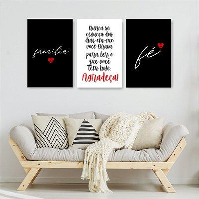 Quadro Decorativo Frases Família Amor E Fé 3P Sem Moldura 115x57 Sala Quarto