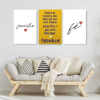 Quadro Decorativo Frases Família Amarelo 3P Sem Moldura 115x57 Sala Quarto