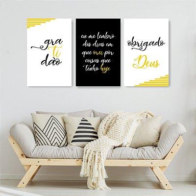 Quadro Decorativo Frases Gratidão Amarelo 3P Sem Moldura 115x57
