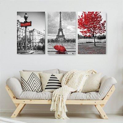 Quadro Decorativo Paris Preto e Vermelho 3P Sem Moldura 115x57 Sala Quarto