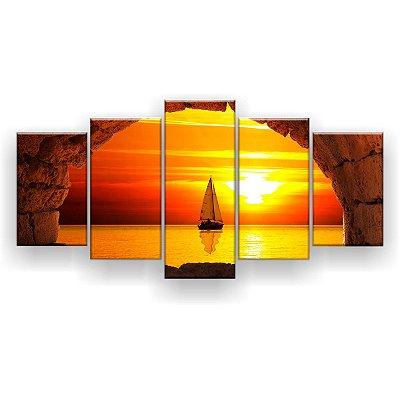 Quadro Decorativo Barco No Horizonte 129x61 5pc Sala