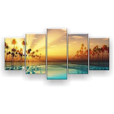 Quadro Decorativo Coqueiros Água Azul 129x61 5pc Sala