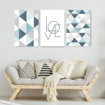 Quadro Decorativo Love Cinza e Azul Claro 3P Sem Moldura 115x57 Sala Quarto