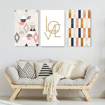 Quadro Decorativo Love Escandinavo 3P Sem Moldura 115x57 Sala Quarto