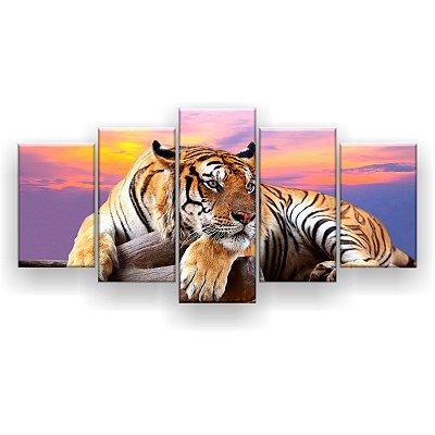 Quadro Decorativo Tigre Deitado 129x61 5pc Sala