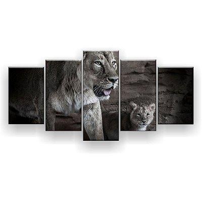 Quadro Decorativor Leoa E Seu Filhote 129x61 5pc Sala