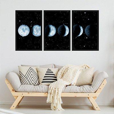 Quadro Decorativo Fases Da Lua 3P 124x60 Sala Quarto