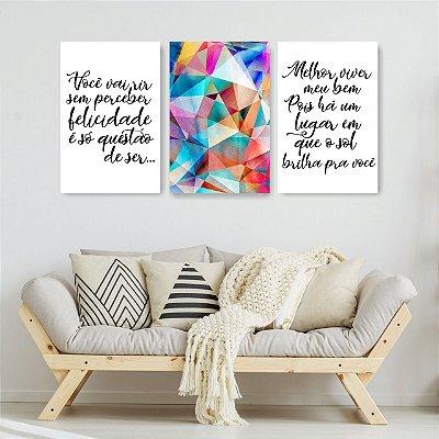 Quadro Decorativo Felicidade É Só Questão De Ser Colorido 3P Sem Moldura 115x57 Sala Quarto