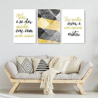 Quadro Decorativo Felicidade Viver Cinza E Amarelo 3P Sem Moldura 115x57 Sala Quarto
