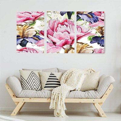 Quadro Decorativo Flores Coloridas 3P Sem Moldura 115x57 Sala Quarto
