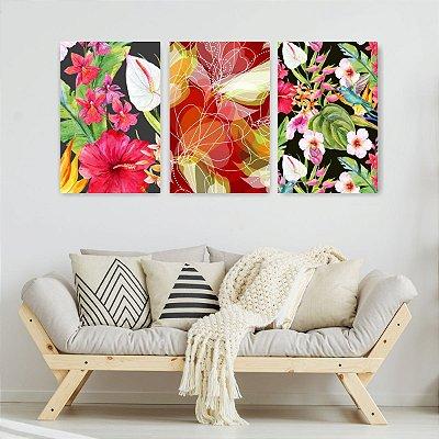 Quadro Decorativo Flores Variadas 3P Sem Moldura 115x57 Sala Quarto