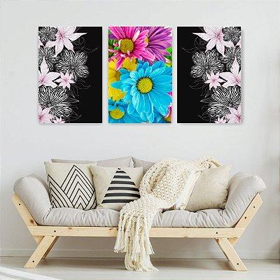 Quadro Decorativo Flores Margaridas Coloridas 3P Sem Moldura 115x57 Sala Quarto