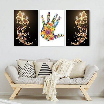 Quadro Decorativo Mão Flores Borboletas 3P Sem Moldura 115x57 Sala Quarto