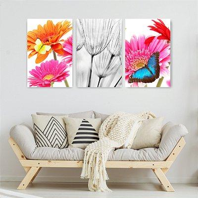 Quadro Decorativo Flores Borboletas 3P Sem Moldura 115x57 Sala Quarto