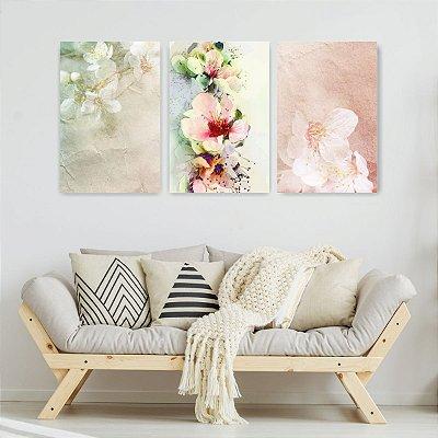 Quadro Decorativo Pinturas De Flores 3P Sem Moldura 115x57 Sala Quarto