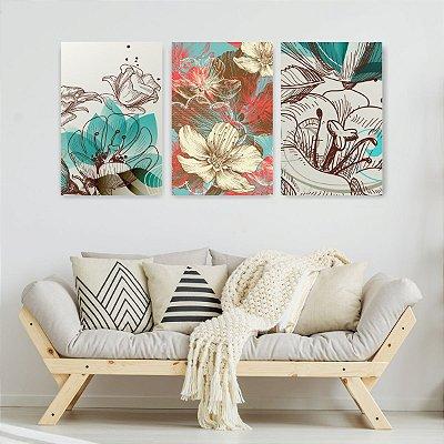 Quadro Decorativo Flores Pattern Vermelho Azul 3P Sem Moldura 115x57 Sala Quarto