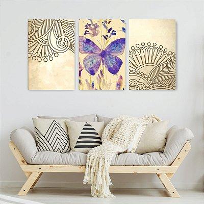 Quadro Decorativo Borboleta Mandala 3P Sem Moldura 115x57 Sala Quarto