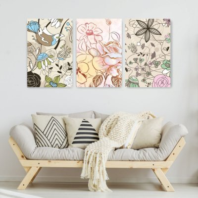 Quadro Decorativo Várias Flores 3P Sem Moldura 115x57 Sala Quarto