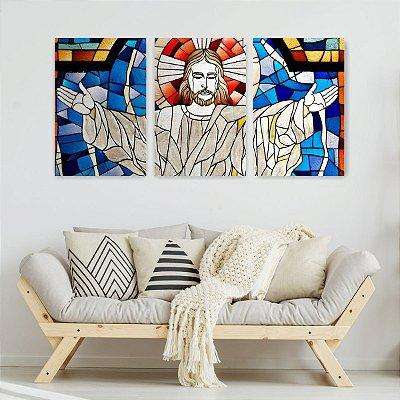 Quadro Decorativo Cristo Braços Abertos 3P Sem Moldura 115x57 Sala Quarto