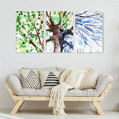 Quadro Decorativo Galhos Da Árvore 3P Sem Moldura 115x57 Sala Quarto