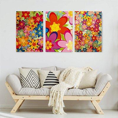 Quadro Decorativo Flores Coloridas Pattern 3P Sem Moldura 115x57 Sala Quarto