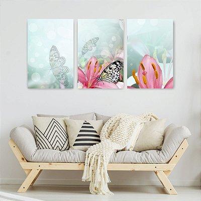 Quadro Decorativo Borboleta Nas Flores 3P Sem Moldura 115x57 Sala Quarto