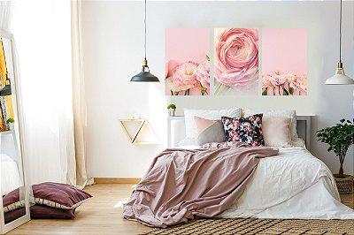 Quadro Decorativo Rosa Cor De Rosa 3P Sem Moldura 115x57 Sala Quarto