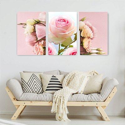 Quadro Decorativo Rosas 3P Sem Moldura 115x57 Sala Quarto