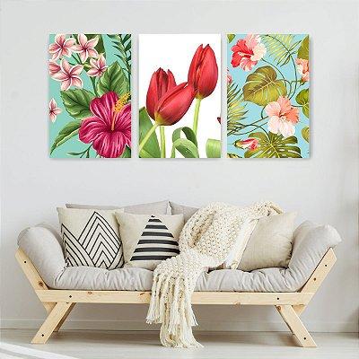 Quadro Decorativo Flores Tulipas Vermelhas 3P Sem Moldura 115x57 Sala Quarto