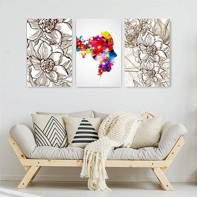 Quadro Decorativo Rosto Flores 3P Sem Moldura 115x57 Sala Quarto