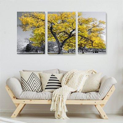 Quadro Decorativo Árvore Grande Amarela 3P Sem Moldura 115x57 Sala Quarto