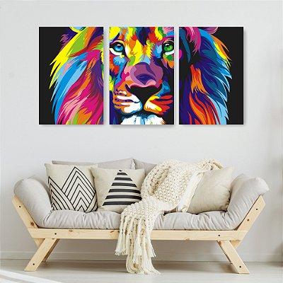 Quadro Decorativo Leão Color Print 3P Sem Moldura 115x57 Sala Quarto