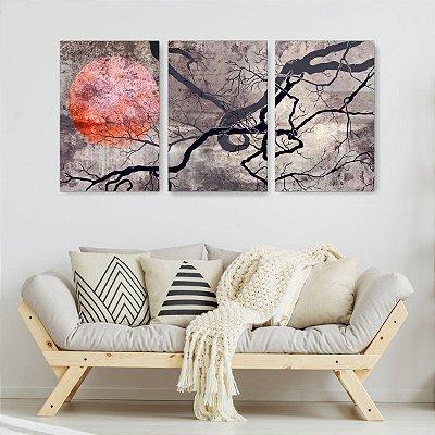Quadro Decorativo Árvore Seca Sol 3P Sem Moldura 115x57 Sala Quarto