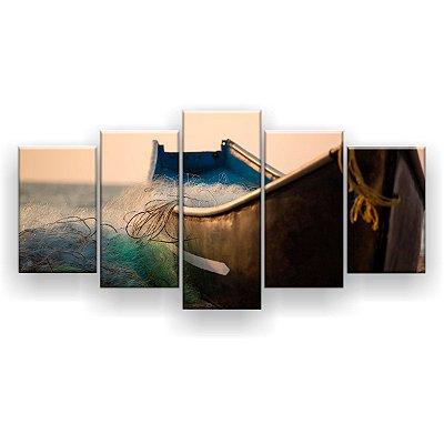 Quadro Decorativo Barco Rede 129x61 5pc Sala
