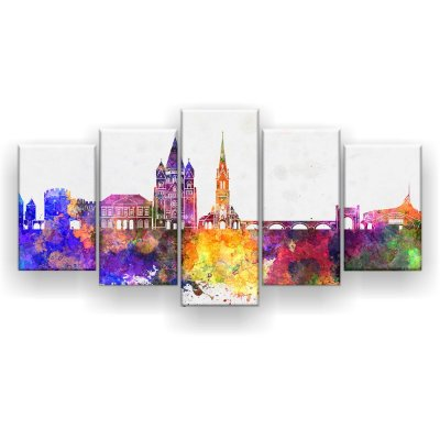 Quadro Decorativo Cidade Colorida 129x61 5pc Sala