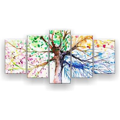 Quadro Decorativo Desenho Árvore Galhos 129x61 5pc Sala