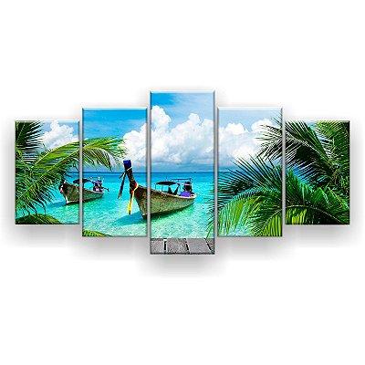 Quadro Decorativo Barco Cais Coqueiro 129x61 5pc Sala