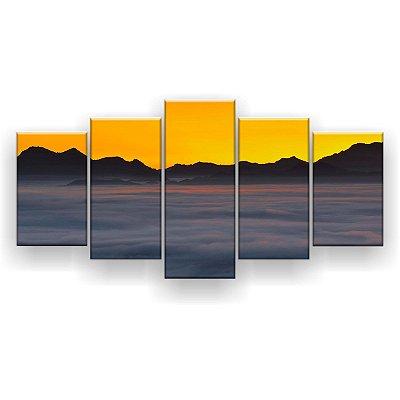 Quadro Decorativo Nevoeiro Céu Amarelo 129x61 5pc Sala
