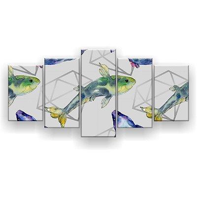 Quadro Decorativo Peixes Diamantes 129x61 5pc Sala
