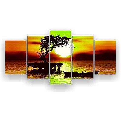 Quadro Decorativo Pôr Do Sol Árvore Canoa 129x61 5pc Sala