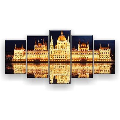 Quadro Decorativo Palácio Iluminado 129x61 5pc Sala
