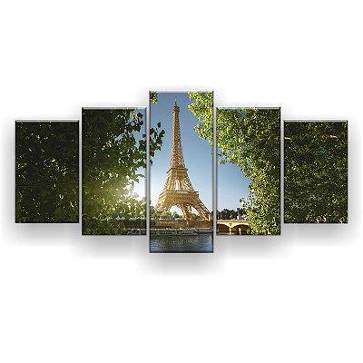 Quadro Decorativo Torre Árvores 129x61 5pc Sala